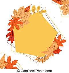 Autumn Fall Season Leaf Greeting Invitation Pentagon Frame Background Bouquet