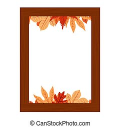 Autumn Fall Season Leaf Greeting Invitation Rectangle Wooden Frame Bouquet