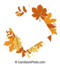 Autumn Fall Season Leaf Greeting Invitation Square Frame Background Bouquet