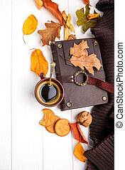 Autumn fall still life cup coffee top view