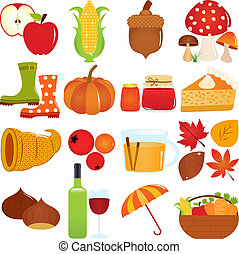 Autumn / Fall Theme - A colorful set of cute Vector Icons :...