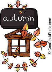 Autumn fall with leaves and little wood house