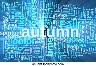 Autumn fall wordcloud glowing
