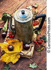 autumn fallen leaves on wooden table