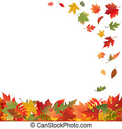 Autumn Falling Leaves, Isolated On White Background, Vector...