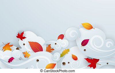 Autumn falling leaves fall background  Vector template.
