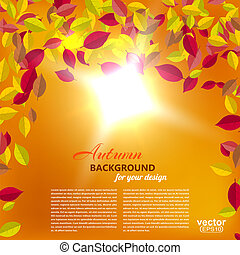 Autumn falling leaves on an orange background with the sun. Vector illustration.
