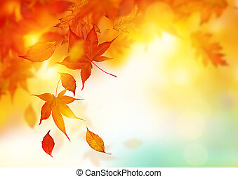 Autumn Falling Leaves - Autumn season falling Leaves -...
