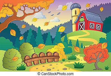 Autumn farm landscape 1 - eps10 vector illustration.