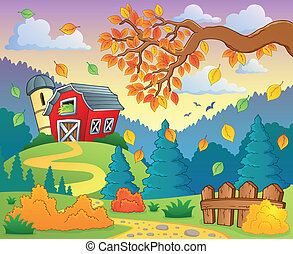 Autumn farm landscape 2 - eps10 vector illustration.