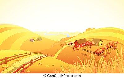 Autumn Farm Landscape Composition