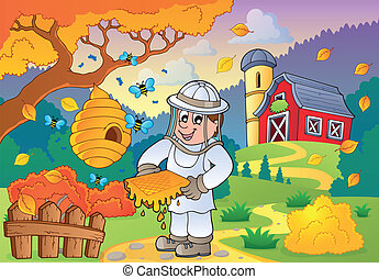 Autumn farm theme 1 - eps10 vector illustration.