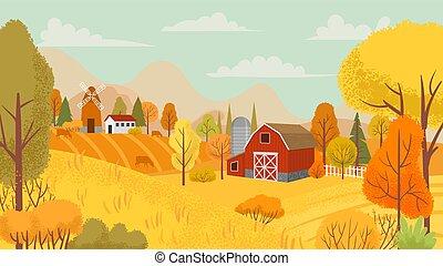 Autumn farming landscape. Country farm, yellow trees and farmhouse field cartoon vector background illustration