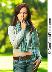 Autumn Fashion - 20-25 years old beautiful sexy woman...