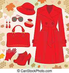Autumn fashion set - Vector illustration. It is created in...