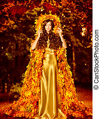 Autumn Fashion Woman Fall Leaves Dress, Girl Standing Outdoor Leaf Coat