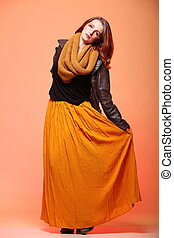 Autumn fashion woman fresh girl eye-lashes