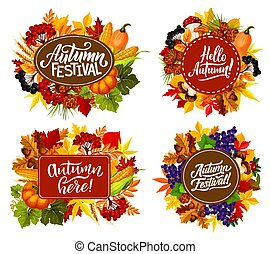 Autumn fest harvest and leaf with fall quotes - Fall fest or...