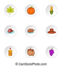 Autumn festival icons set, cartoon style