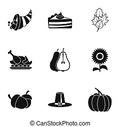 Autumn festival icons set, simple style