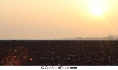 Autumn field in light of sunrise - plowed field. Backlight...