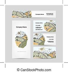 Autumn field sketch, business cards design
