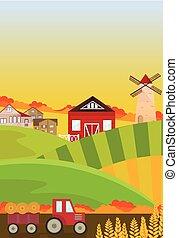 Autumn fields harvest season. Landscape Vector backgrounds