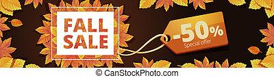 Autumn final sale banner horizontal, cartoon style