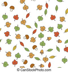 Autumn Flat Vector Seamless Pattern on White