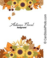 Autumn floral background with autumn leaves, sunflower and acorns.