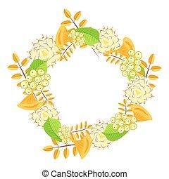 Autumn floral bouquet wreath vector.