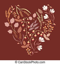 Autumn floral card. Fall autumn leaves in the shape of heart. Nature symbol vector collection