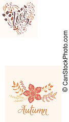 Autumn floral card. Fall autumn leaves in the shape of heart. Nature symbol vector collection. sign Love