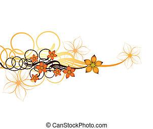 Autumn floral design background. Vector