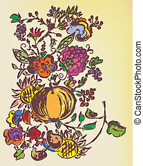 Autumn floral graphic background with fruits