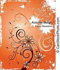 Autumn floral grunge background. Vector
