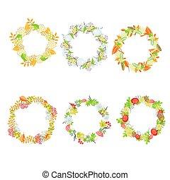 Autumn floral leaf wreath vector set.
