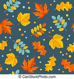 Autumn Floral Seamless Pattern With Oak And Maple Leaves
