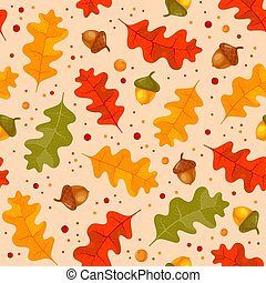 Autumn Floral Seamless Pattern With Oak Leaves And Acorns