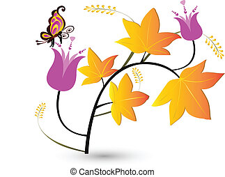 Autumn floral with fly background