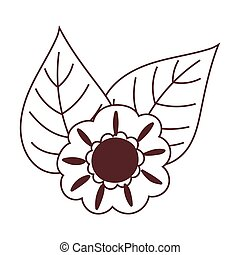 autumn flower leaves nature isolated icon design line style