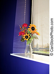 Flower vase in a win - Autumn Flower vase in a window