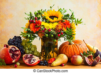 Autumn flowers and pumpkin - Autumn still life with flowers,...