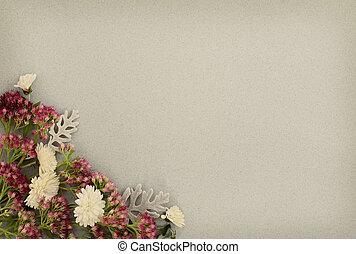 Autumn flowers corner on gray paper