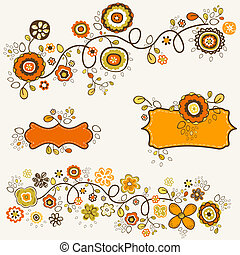 autumn flowers design, vector illustration