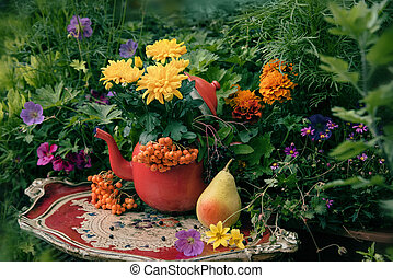 Autumn flowers outdoor decor