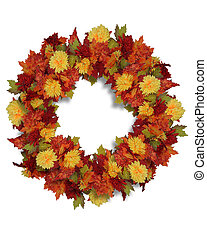 Autumn Flowers wreath - Wreath of fall colored leaves and...