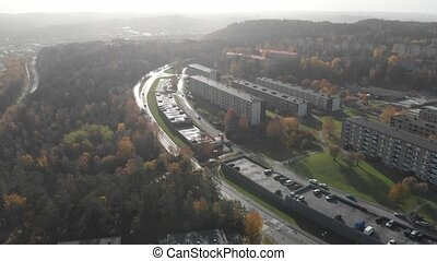 Misty Fall Day at Residential Suburban Area, Aerial Backward