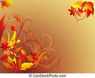 Abstract autumn foliage with decorative swirls and leaves on gradient tan background.
