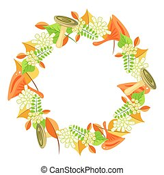 Autumn foliage bouquet wreath vector.